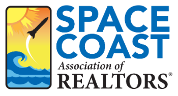 Space Coast Association of REALTORS graphic with white background and image of rocket and sun in sky above ocean waves