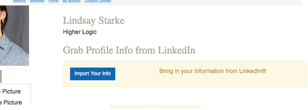 Example of how you can grab Profile Info from LinkedIn
