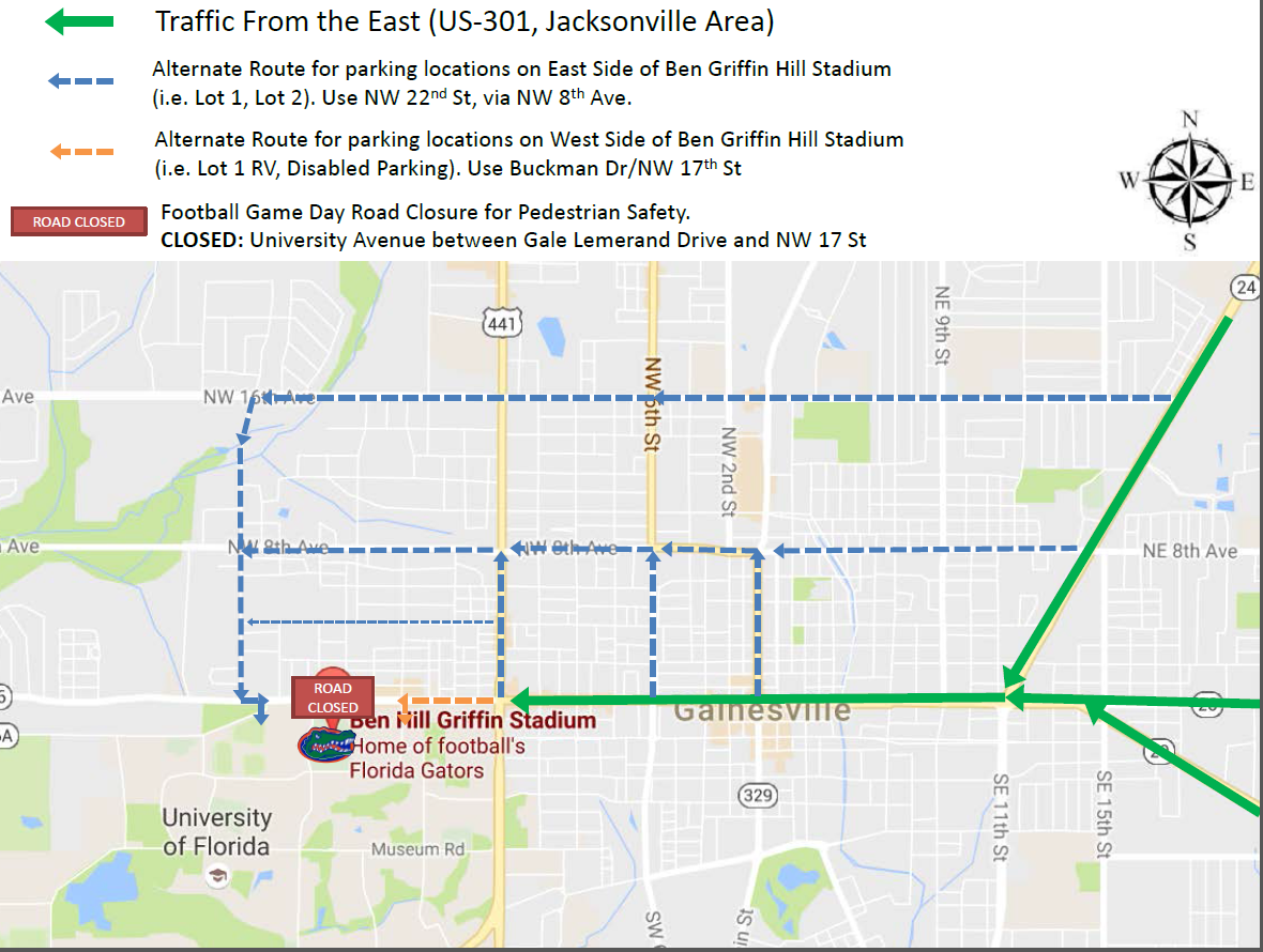 new game day traffic pattern  university of florida alumni  - the updated route is featured below