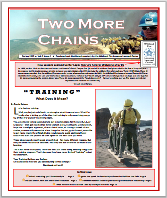 Cover of Two More Chains Spring 2013 Issue