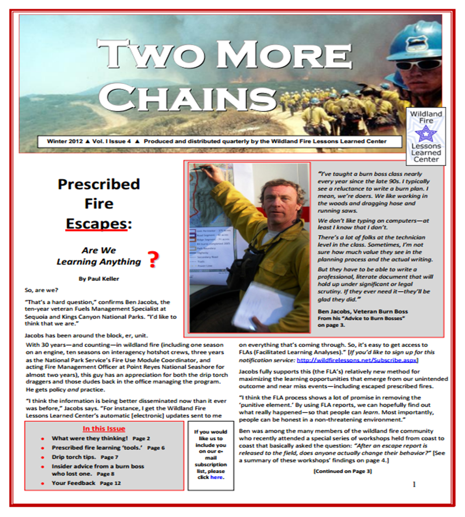 Cover of Two More Chains Winter 2012